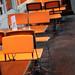 orange café chairs