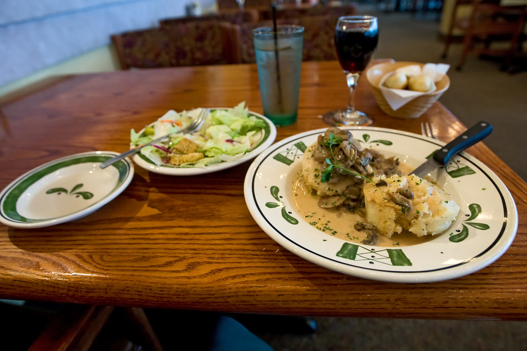 Olive Garden Has A Crazy New Breadstick Creation: Stuffed Chicken Marsala, Salad, And A Glass Of