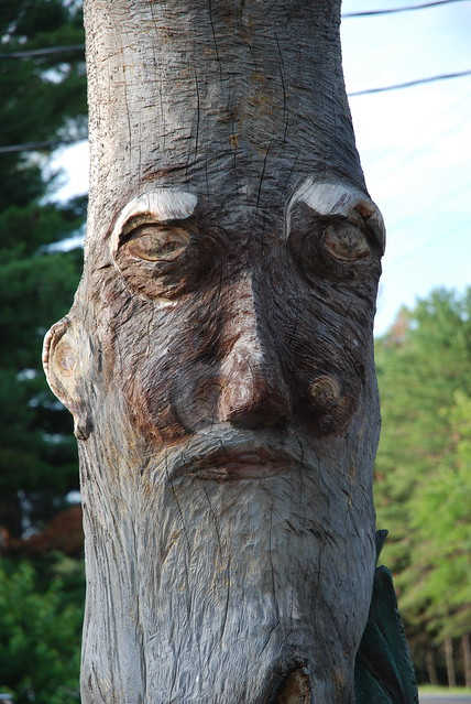Chainsaw carved face on log flickr photo sharing
