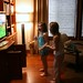 Josie and Morgan running with Wii Fit