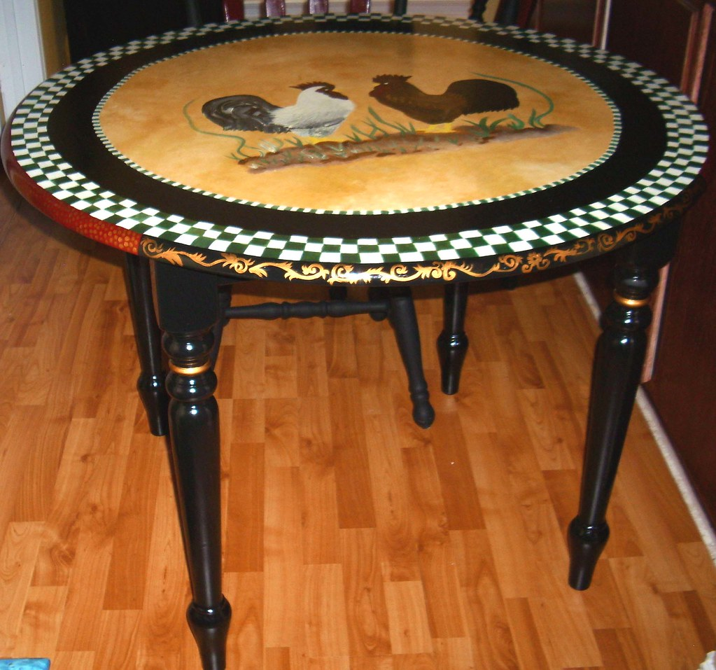 Country Kitchen Jobs: Hand Painted French Country Bristo Style Table