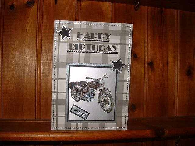 Man Birthday Card Decoupage Motor Bike On Silver Black A Flickr