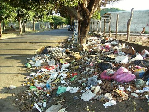 Trash On A Typical City Street Of Managua Nicaragua Was