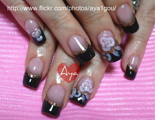 Black French Nails With