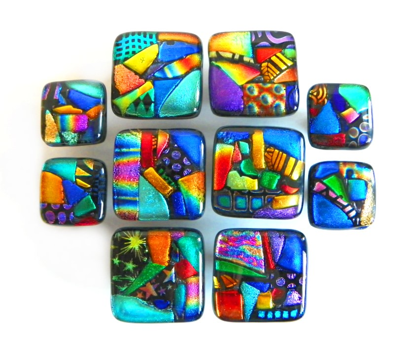 Mosaic glass knobs f glass cabinet hardware in custom for Colored glass cabinet knobs
