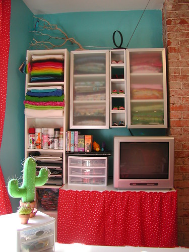 Cloth Stash, Felt Stash, TV Table, Etc. - South Wall | by Crafty Intentions