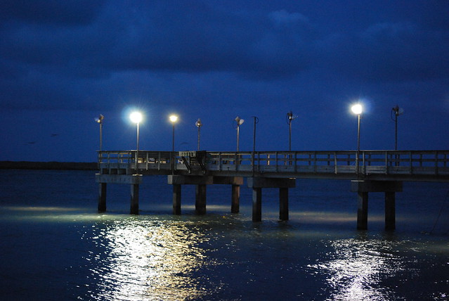 Fishing pier at night port aransas texas flickr for Port aransas jetty fishing report
