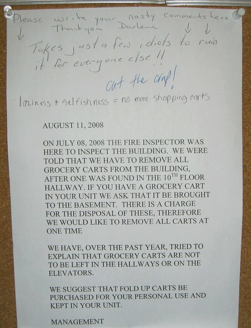 no more shopping carts a note in my apartment building th