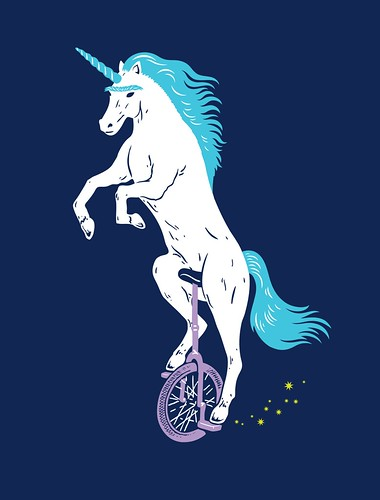 Unicorn with Unibrow riding Unicycle | by Laser Bread