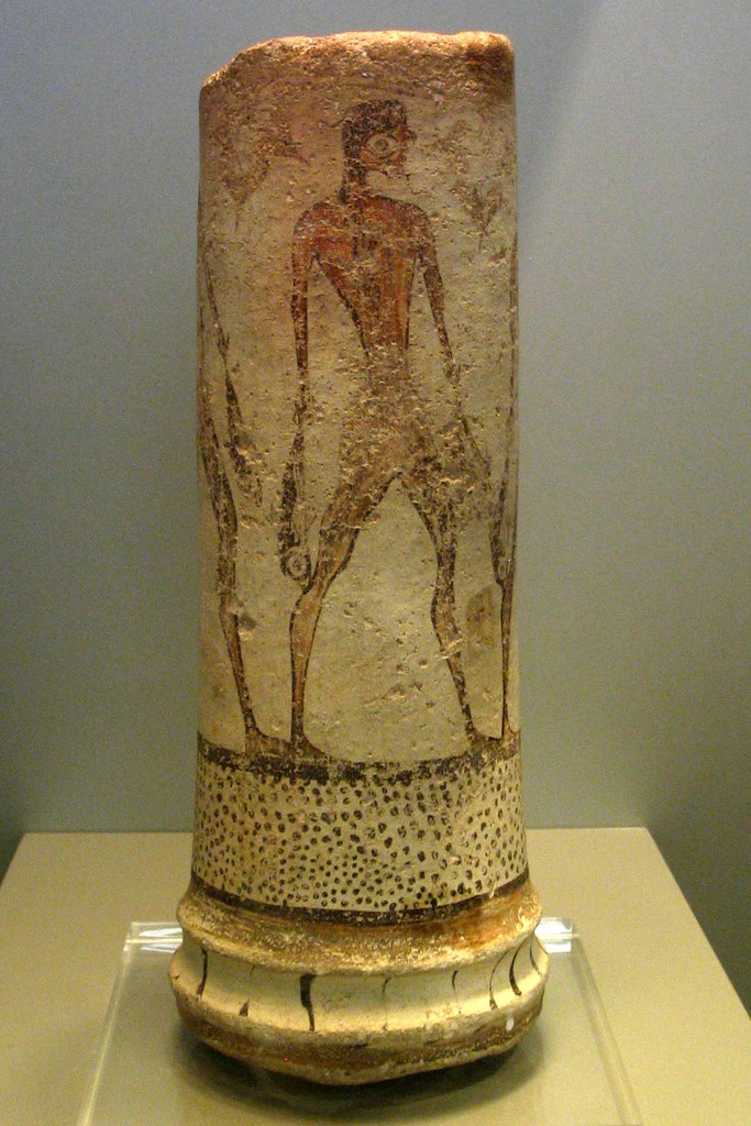Fishers From Phylakopi Middle Cycladic Ceramic Cylinder