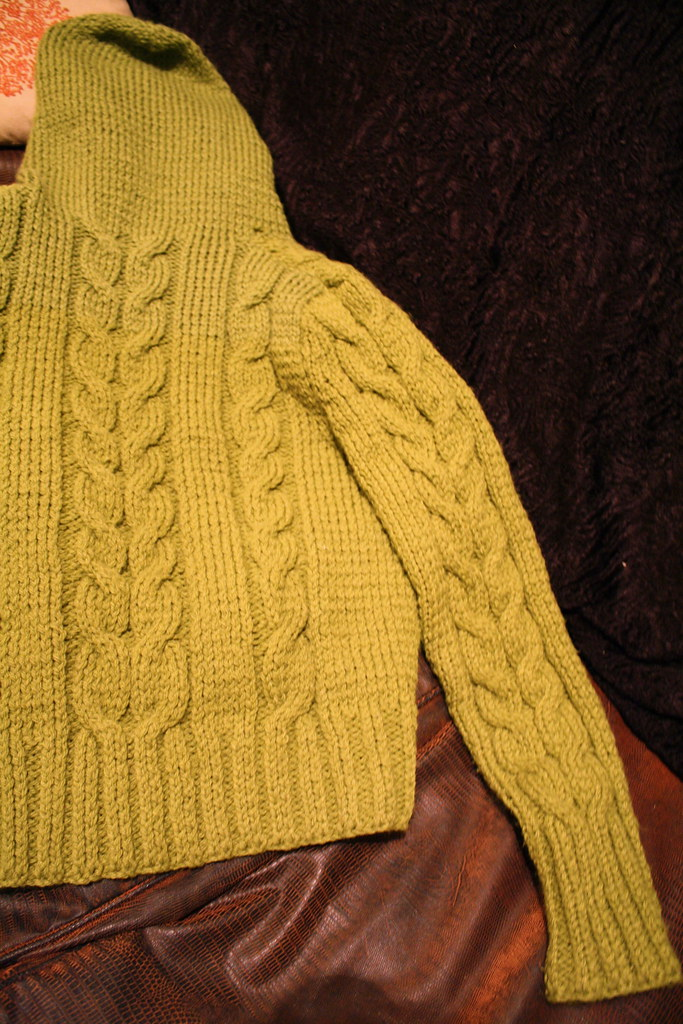 Cables Lime green cable hoodie I knit a while ago. Pattern? Flickr