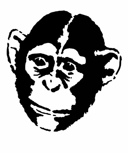 Gorilla Face Line Drawing : Chimpanzee this is a stencil based on photo