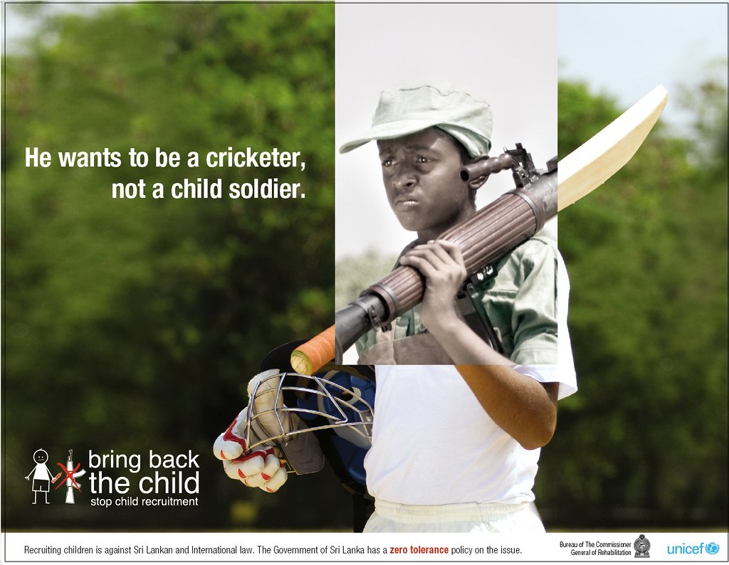 Unicef 'Bring Back the Child' campaign poster, 'Cricketer ...