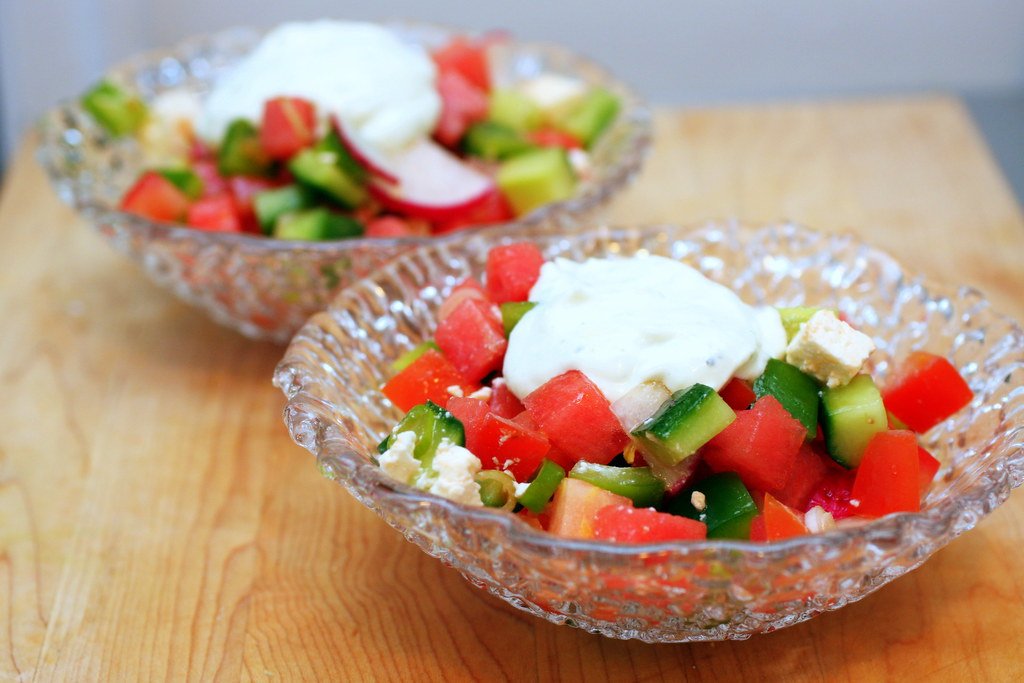 chopped salad with watermelon and feta | Chopped Vegetable ...