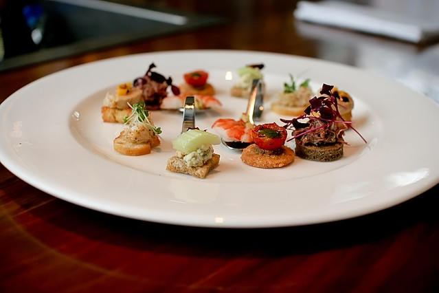 canape plate at st pancras champagne bar abstract gourmet flickr. Black Bedroom Furniture Sets. Home Design Ideas