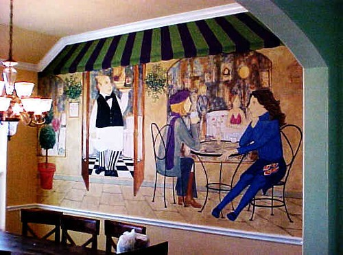 Sidewalk cafe mural in kingwood dining room www for Asian mural wallpaper