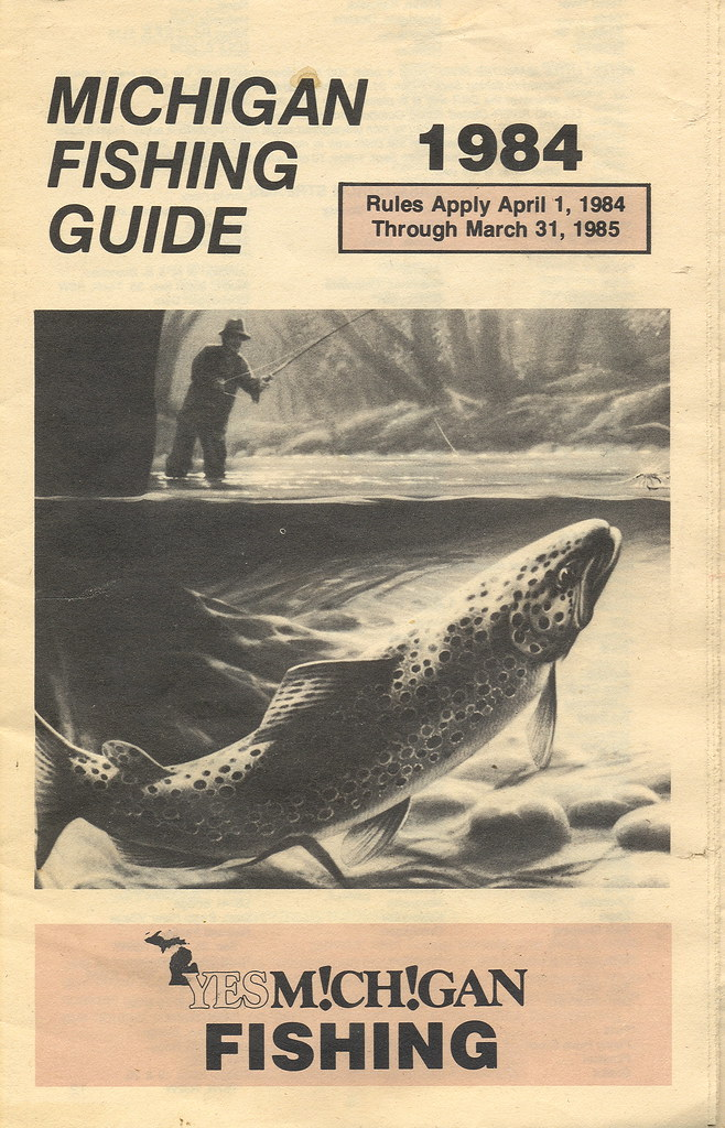1984 michigan vintage fishing license law digest guide for Michigan fishing regulations