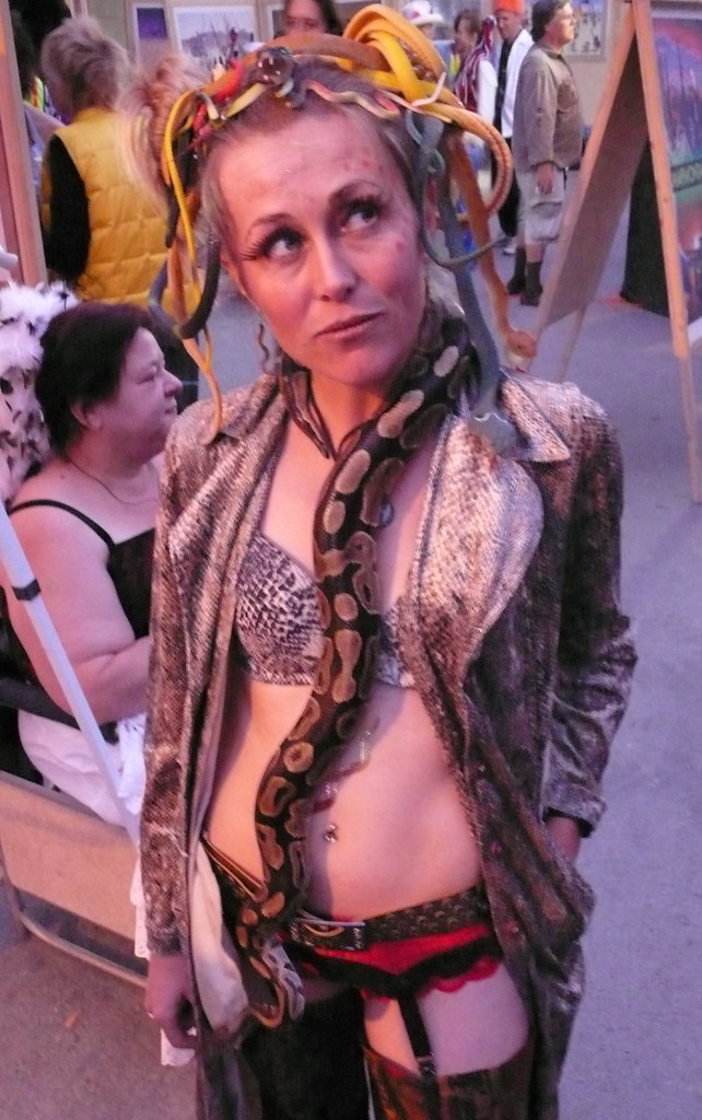 Burning Man Fashion  Sexy Woman In Lingerie With Python W -8574