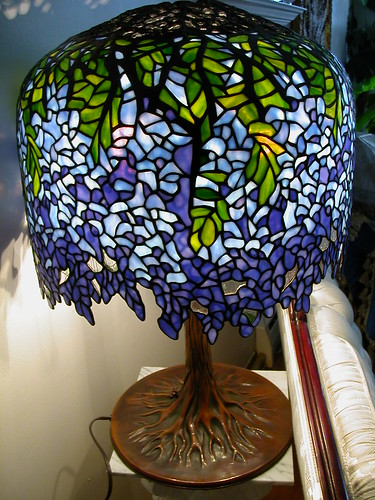 SOLD: Tiffany Blueviolet Wisteria Stained Glass Lamp | by merlinzor