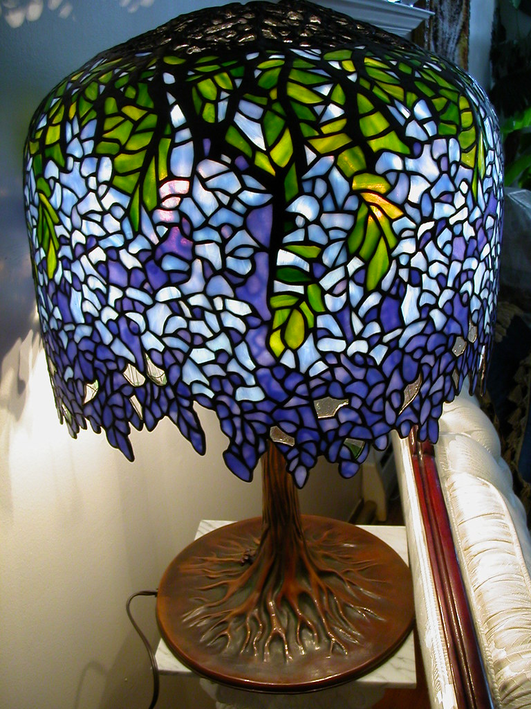 Sold Tiffany Blueviolet Wisteria Stained Glass Lamp Flickr