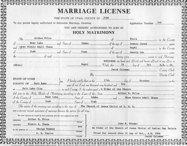 arthur david price winnie chase marriage license 16