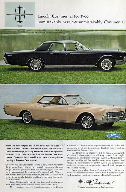 1966 lincoln continental ad explore bigmikelakers 39 photos flickr photo sharing. Black Bedroom Furniture Sets. Home Design Ideas