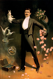 Zan Zig performing with rabbit and roses, magician poster, 1899 | by trialsanderrors