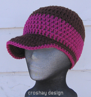 Crochet Pattern Mens Hat With Brim : Crocheted Brim Beanie the Original B Brim Beanie by ...
