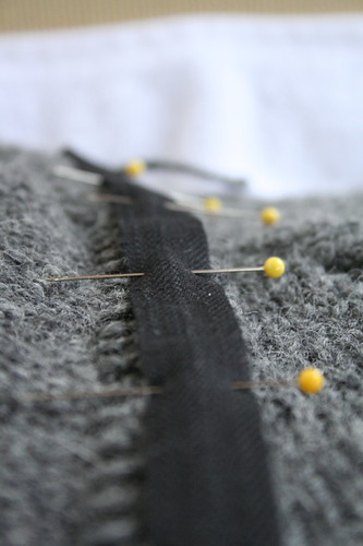 Preparing the twill tape reinforcement of the button band | by ElinorB