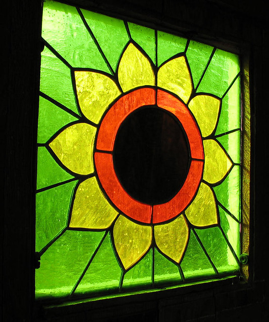 Sunflower Stained Glass Window