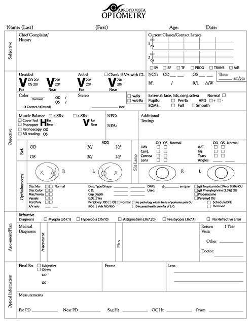 Exam form copyright arroyo vista optometry beenznrice for Ophthalmology exam template