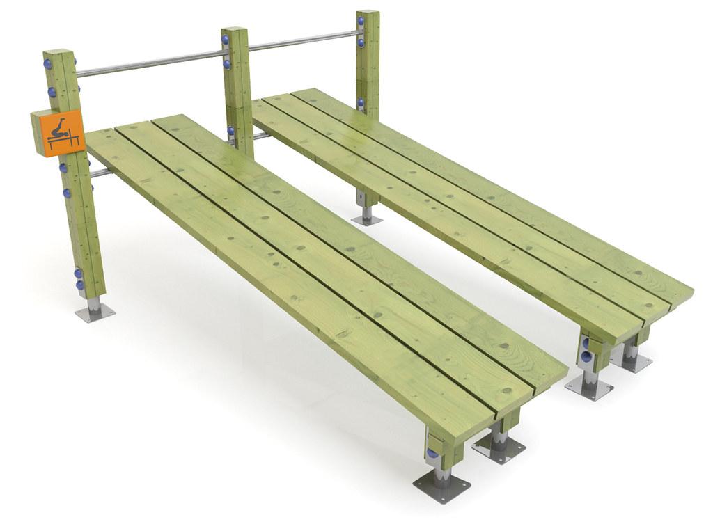Banco de abdominales inclinado doble de madera y acero par - Banco de madera ...