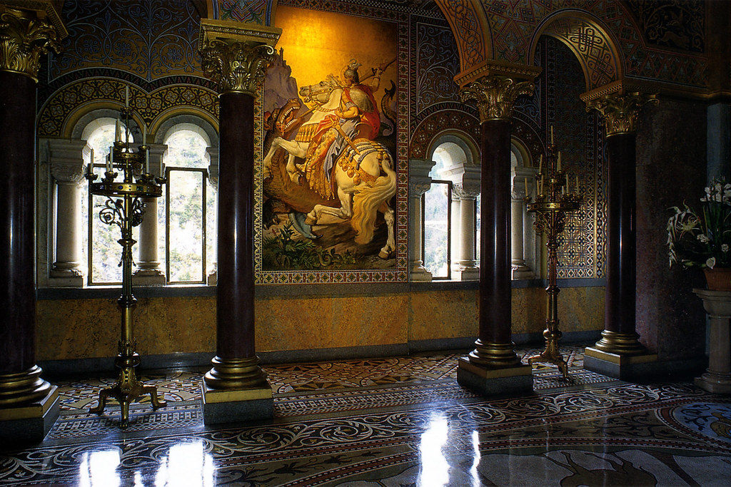 Neuschwanstein interior the coronation room of for Cinderella castle mural