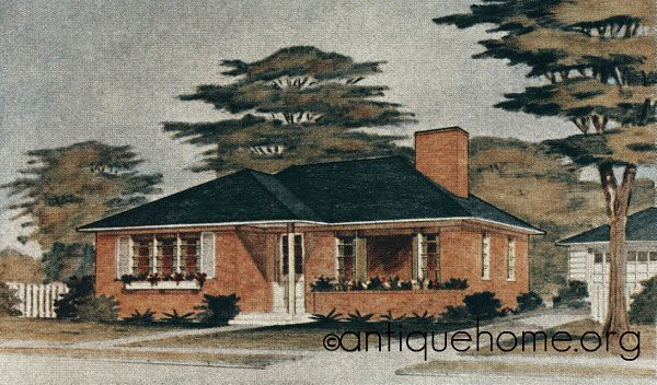 The avon 1950s ranch style home house plans liberty for 1950 bungalow house plans