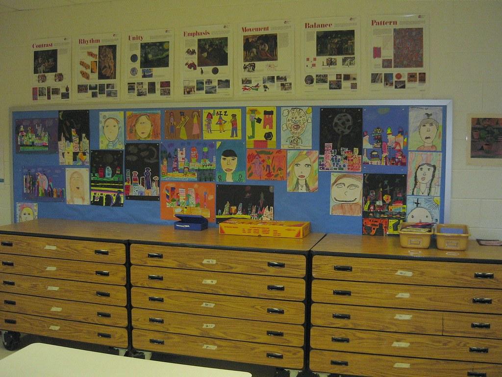 "my art classroom 2008: ""art gallery wall"" and storage draw ..."