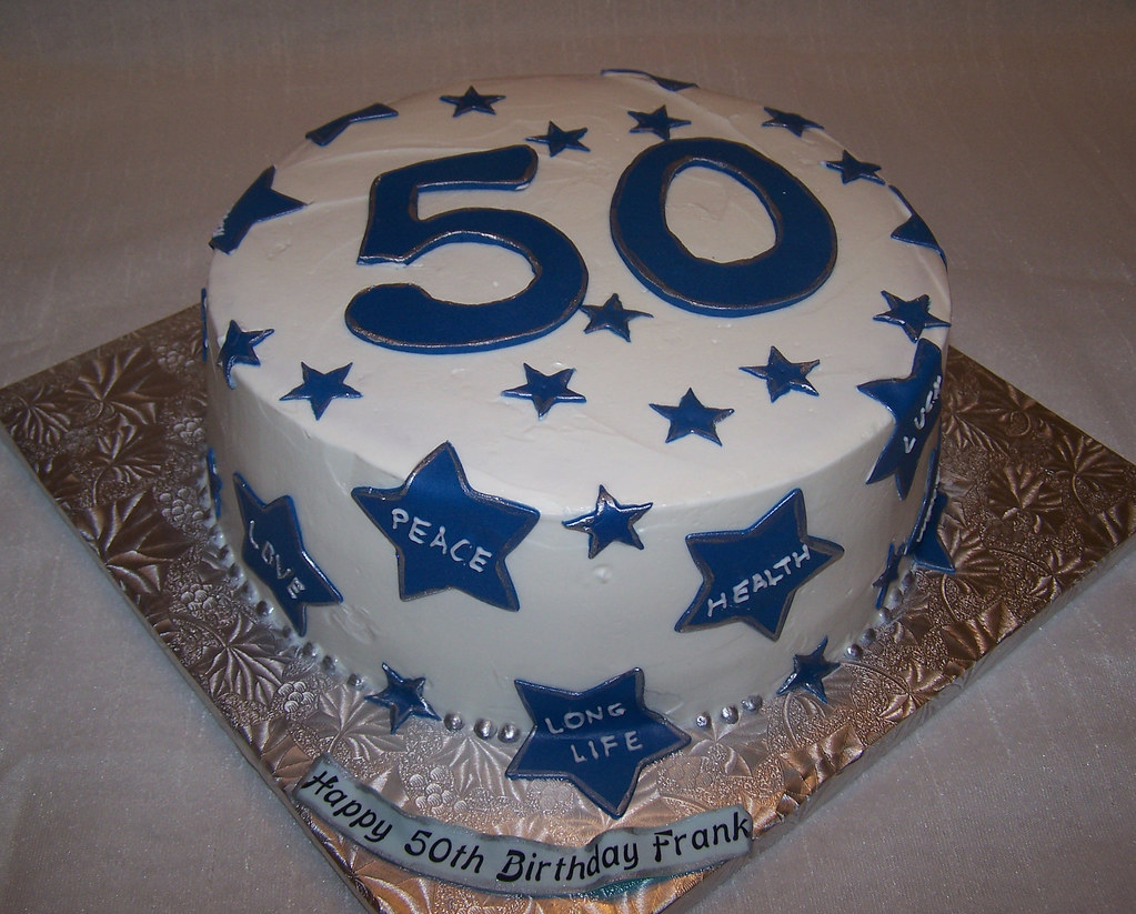 50th Birthday Cake Buttercream Covered Cake And Fondant