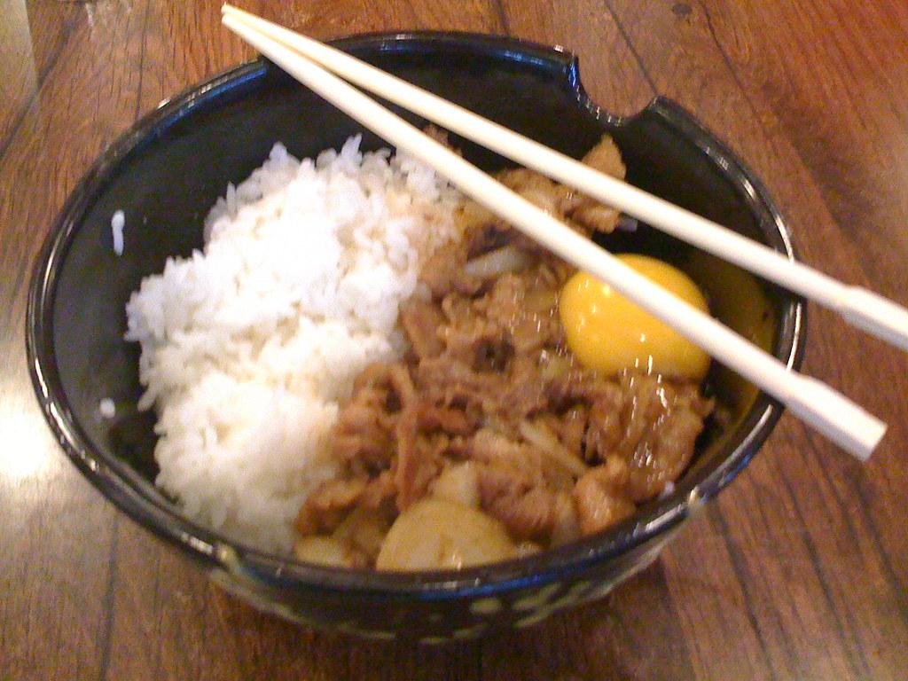 Beef Sukiyaki Don | My cousin ordered it; it has a raw egg ...