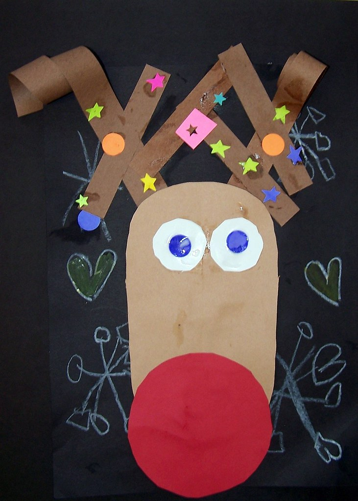 3d construction paper reindeer nosed reindeer we were diggin the curled 3294