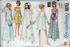Vintage sewing pattern: 1960s wedding dress, bridesmaid, bow | by vintagemode