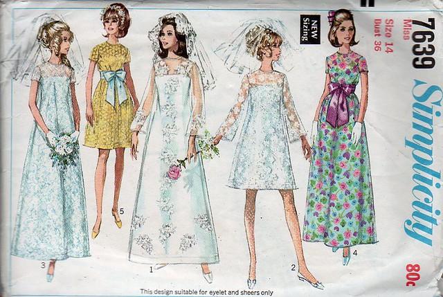 Vintage sewing pattern 1960s wedding dress bridesmaid b for Vintage wedding dress patterns free