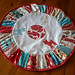 Patchwork red, aqua and white deer table topper