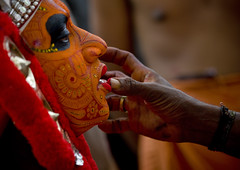 Theyyam Artist Having Make Up Applied On His Face, Thalassery, India | by Eric Lafforgue