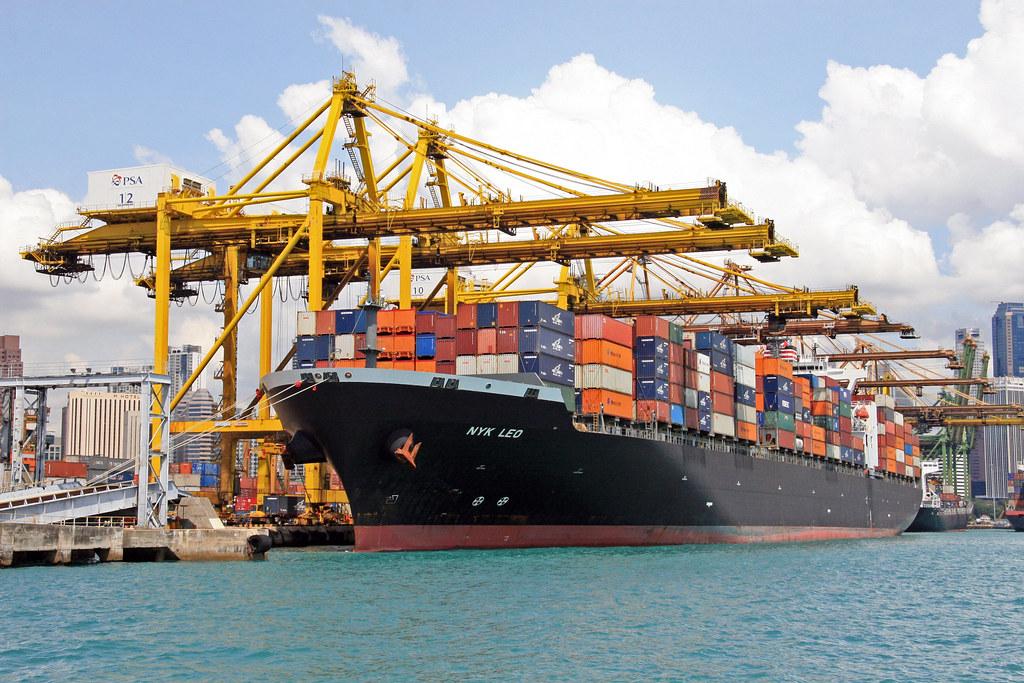 Singapore Harbour Container Docks At Singapore Harbour