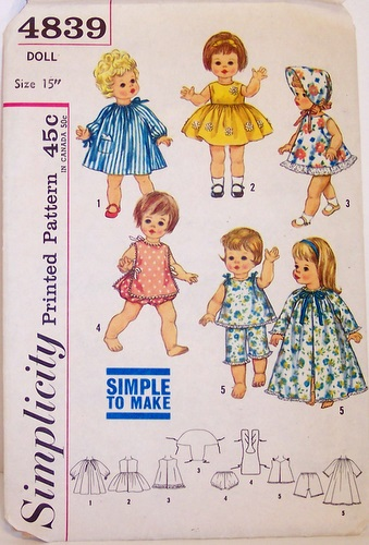 Vintage Simplicity 4839 15 Inch Doll Clothing Pattern Chat