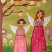 Sister Fairies Collage Art Painting by Sascalia