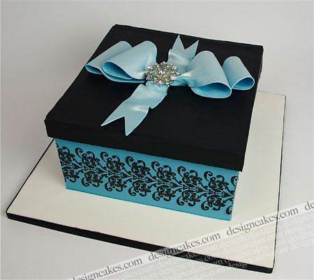 Cake Decorating Gift Experience : Blue and black damask gift box cake Christine Pereira ...