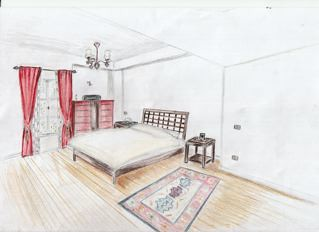Module 4 two point perspective of bedroom amanda cairo for Bedroom 2 point perspective
