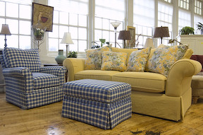 Interim Furnishings Yellow Looseback Sofa With Blue Plaid