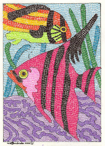 Tropical Fish Done In Micro Paper Mosaics This Is