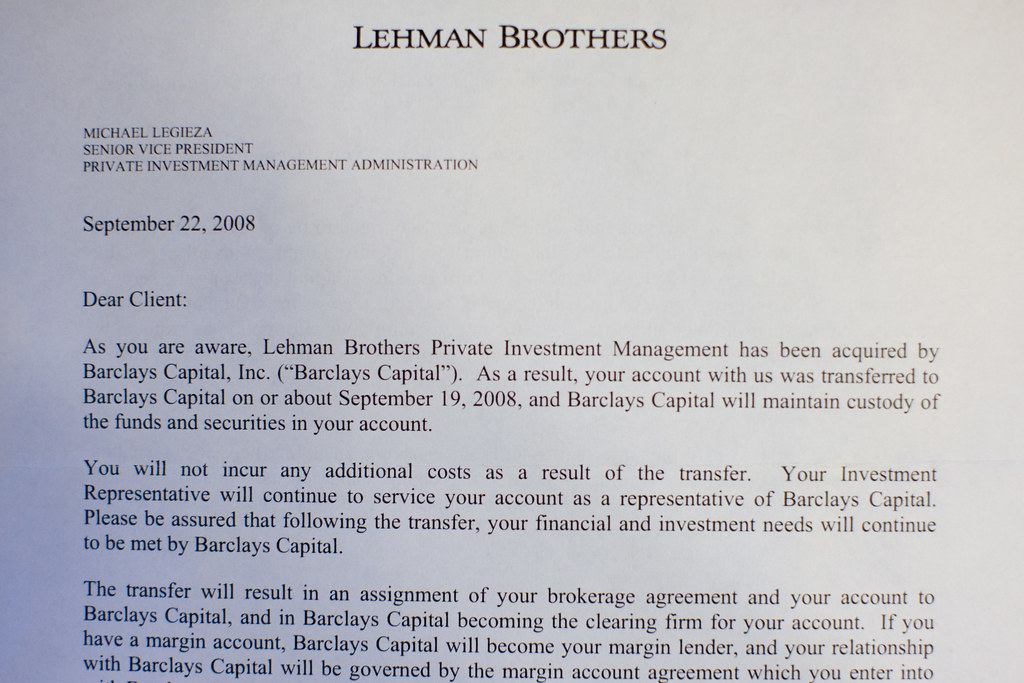 Goodbye letter from Lehman Brothers | Joi Ito | Flickr